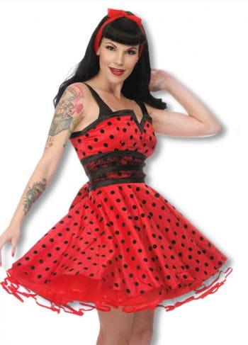 Petticoat Kleid mit Punkten schwarz-rot M M / 38