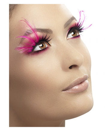 Pink feather eyelashes with glitter