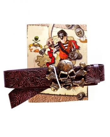 Piratengürtel mit Totenkopf Gürtelschnalle