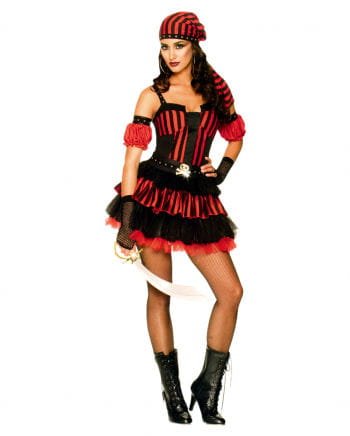 Punk Piratin Rot Schwarz