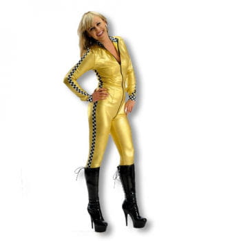 Rennfahrerin Kostüm gold L