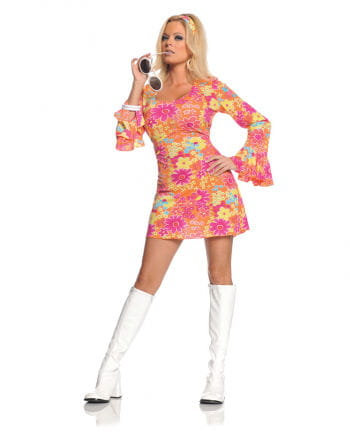 Hippie Mini Kleid Geblümt Medium