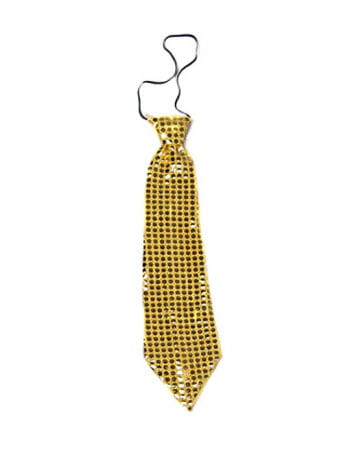 Riesen Pailletten Krawatte gold