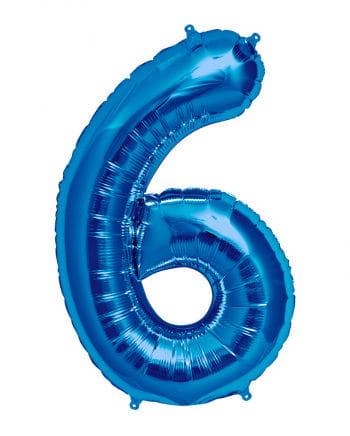 Folienballon Zahl 6 Blau