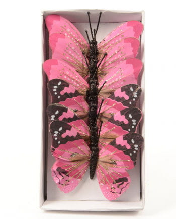 Glitzerschmetterling 6er Set 10 cm rosa