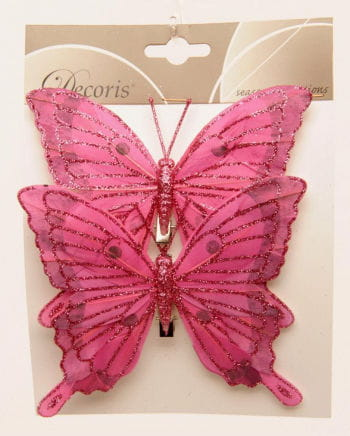 Glitter Butterflies Set of 2 14 cm pink