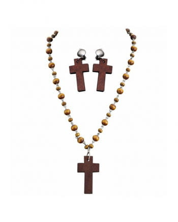 Rosary Necklace & Earrings Set