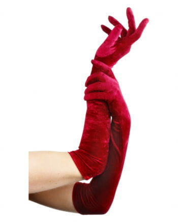 Red, elbow-length gloves off