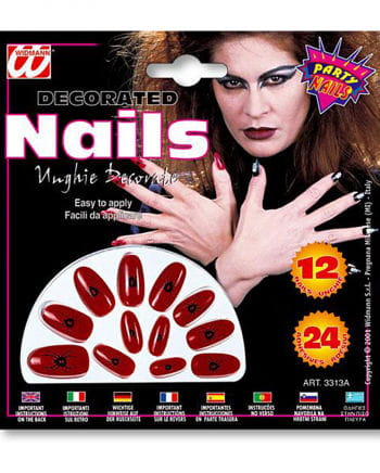 Red Witch Fingernails with Spider Design