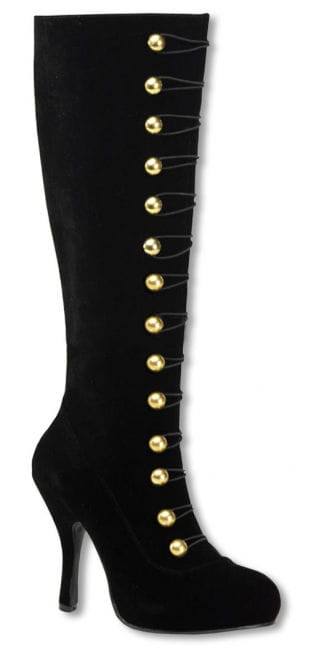 Velvet boots with golden buttons