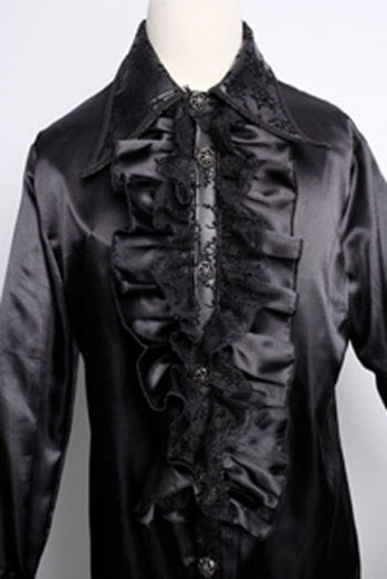 Satin shirt with ruffles black