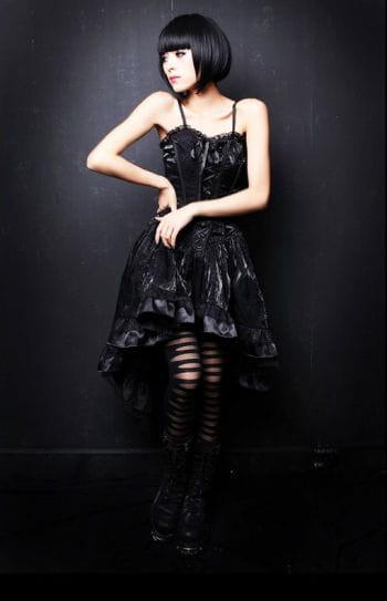 Black silk dress with Flock Print