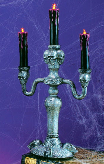 Gothic Candle Holders with LED Candles silver