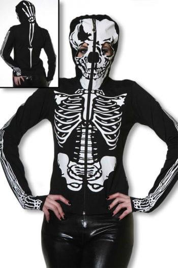 Skelett Hoodie mit Totenkopfmaske S S / 36