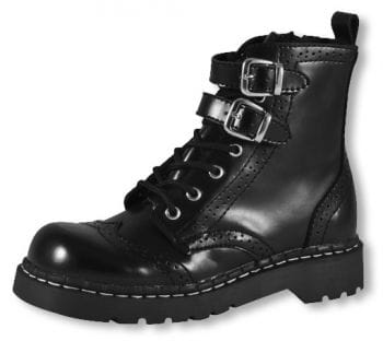 Combat boots with lace pattern black