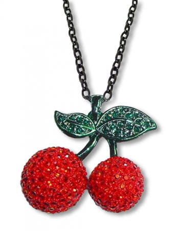 Necklace with Rhinestone Cherry Pendant