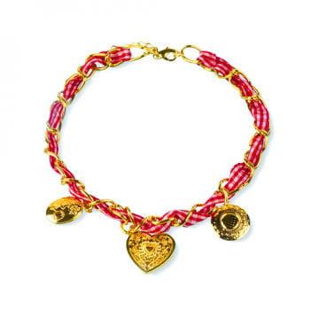 Trachten-Halsband mit Schmuckband