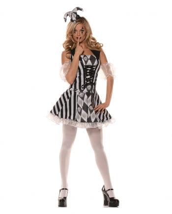 Harlekin Damenkostüm schwarz-weiß