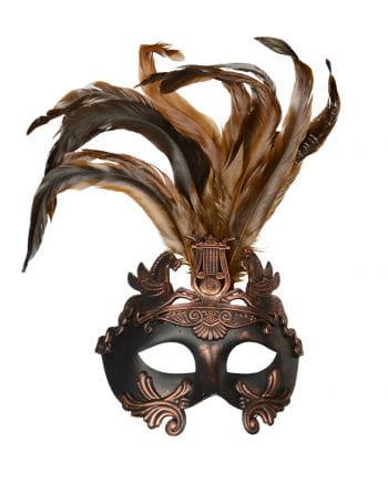 Antike Augenmaske mit Federn bronze