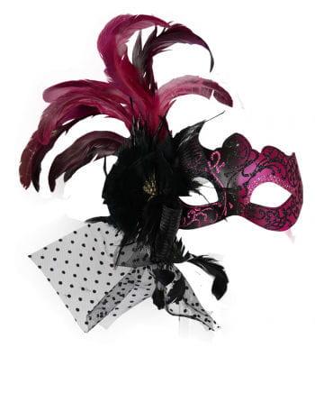 Venezianische Augenmaske mit Federn Pink