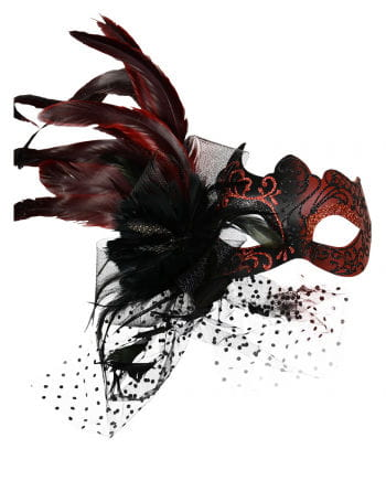 Venetian eye mask with feathers red