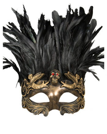 Venetian skull mask with feathers gold / black
