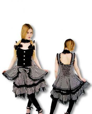 Victorian Lolita Dress Black White Striped S