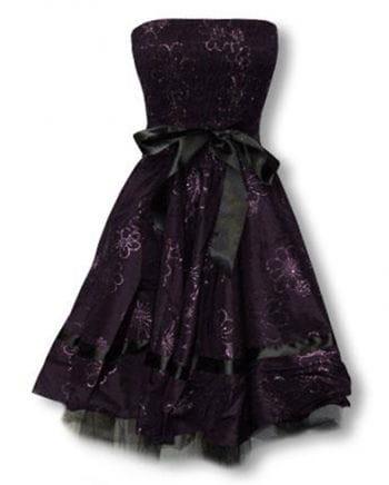 violettes Abendkleid mit Blütendruck S