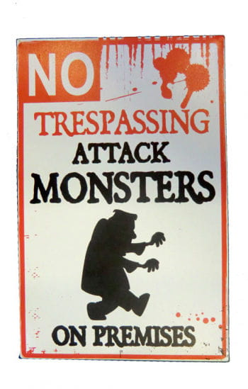 Warnschild Attackierendes Monster
