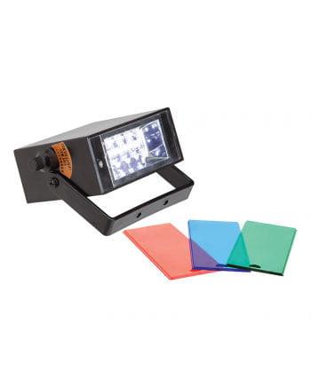 LED Stroboskop weiss mit 3 Farbfiltern
