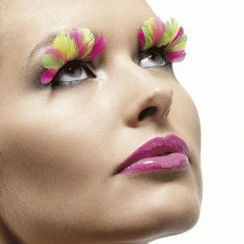 Feather Eyelashes Multicolor Neon