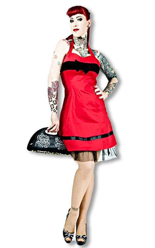 50er jahre kleid rot s 34 rotes neckholderkleid rockabilly style 50er jahre horror. Black Bedroom Furniture Sets. Home Design Ideas