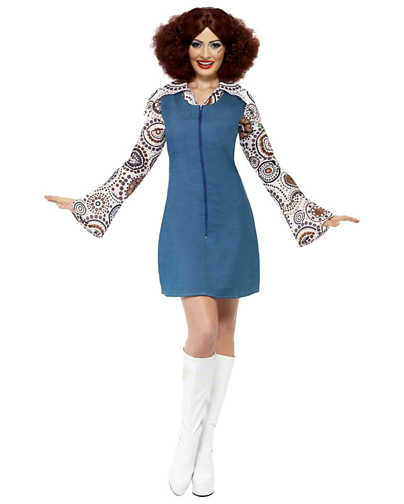 70s Disco Queen Costume | Hippie Mini dress in jeans look | horror ...