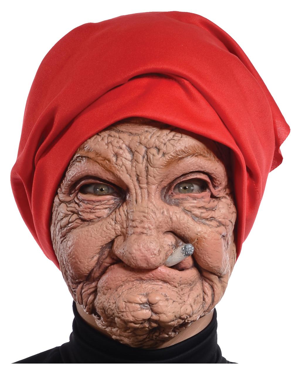 Alte Oma Maske Mit Kopftuch Fur Karneval Horror Shop Com