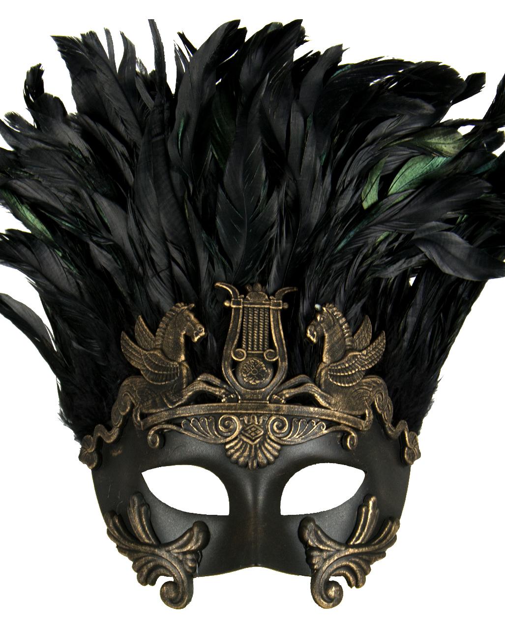 Antike Augenmaske mit Federn schwarz-gold ✤ | Horror-Shop.com