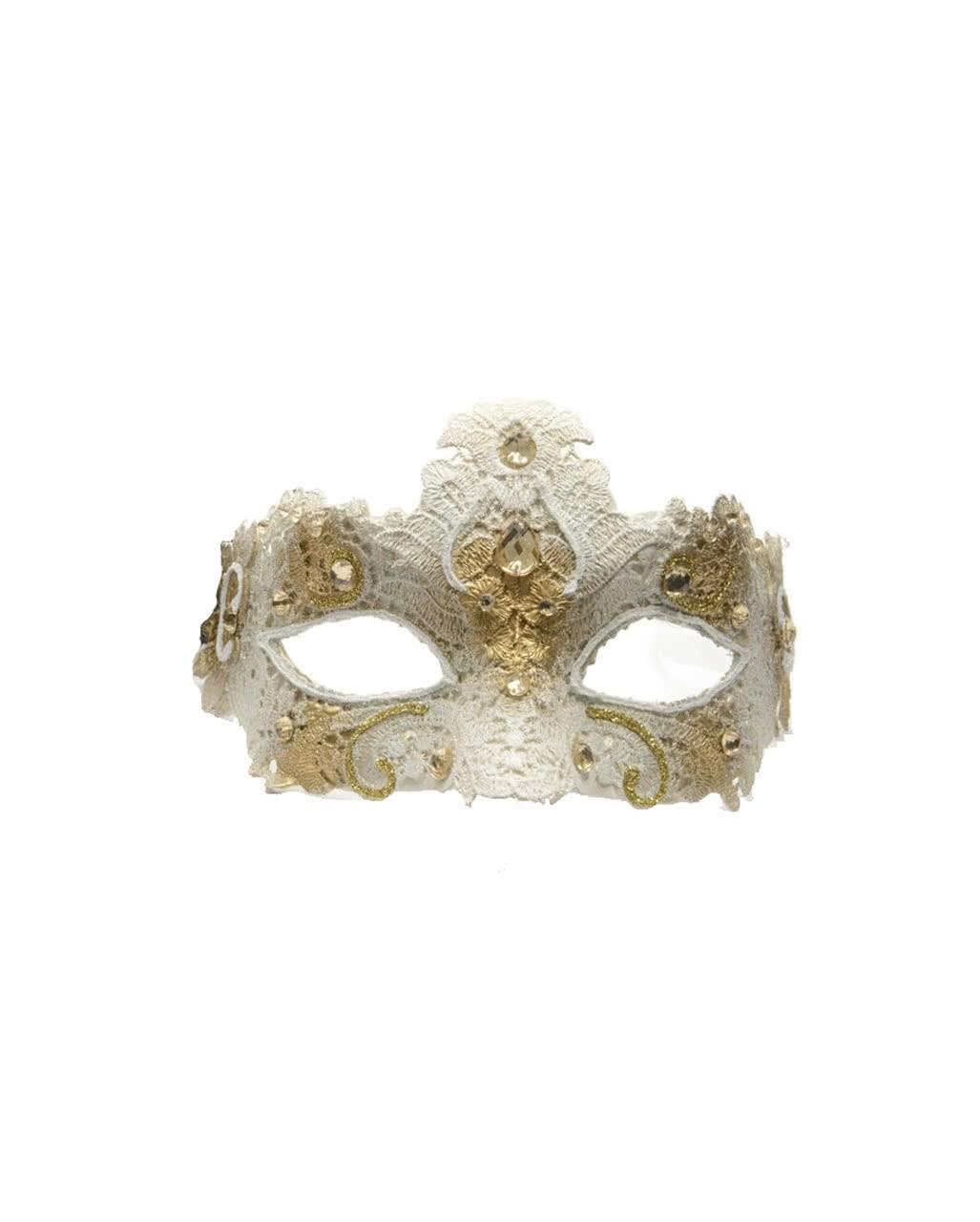 Venezianische Maske mit Spitze Beige/Gold ✩ | Horror-Shop.com