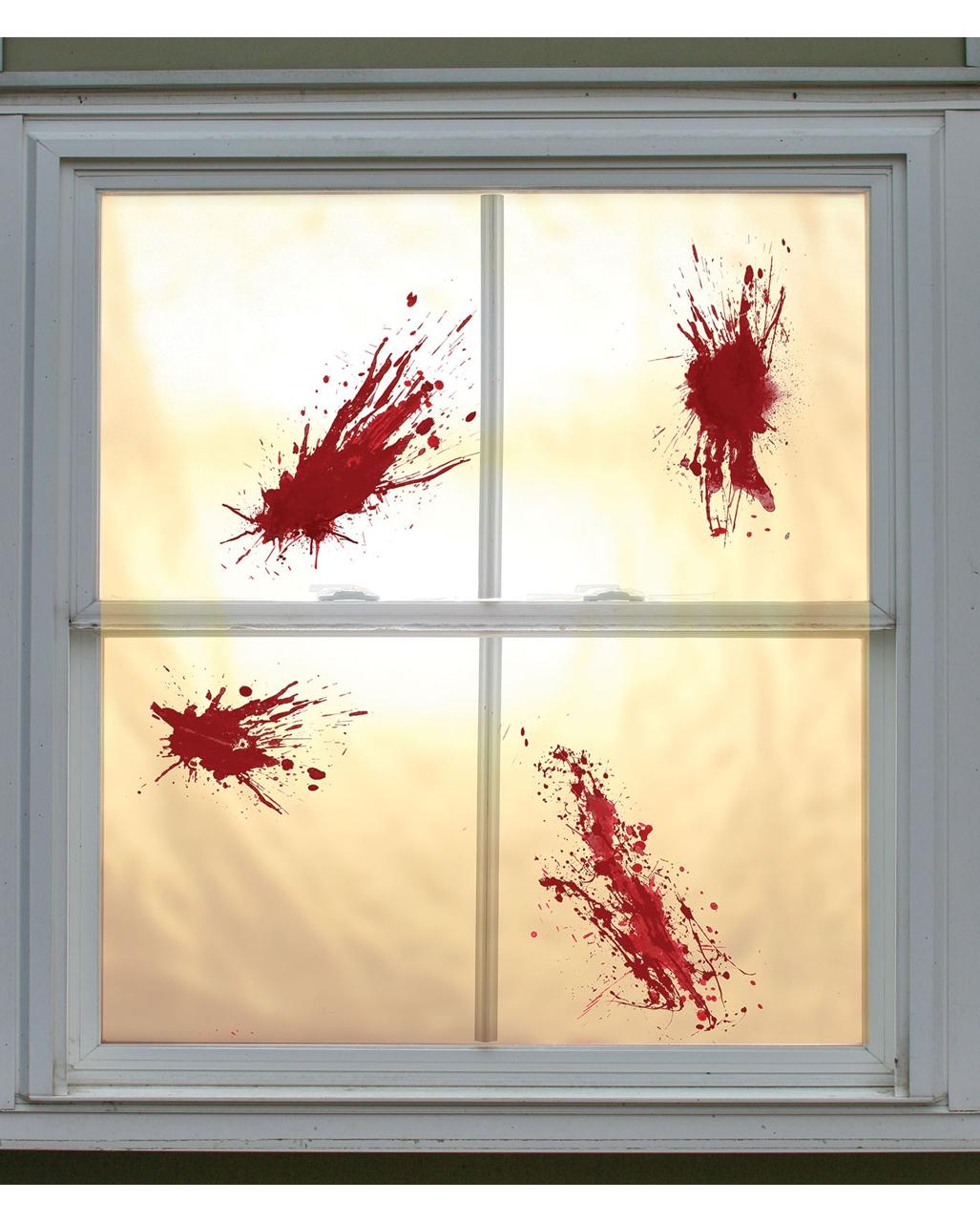 Blutschleim Spritzer 4 St Halloween Fensterdeko Horror Shop Com