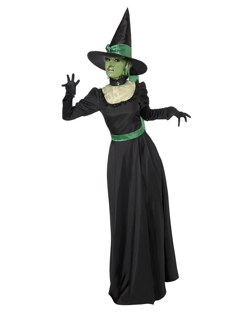 Wicked Witch Costume Black-Green  sc 1 st  Horror-Shop.com & Wicked Witch Costume Black-Green I Black Magic and a Green ...