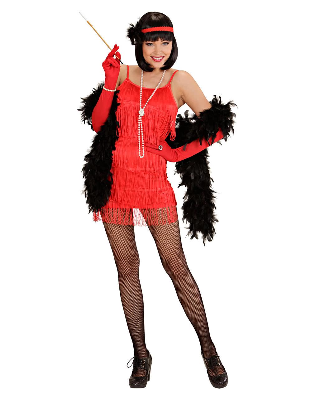 Charleston Kleid rot S 20er Jahre Kostüm Flapper Frauenkostüm ...