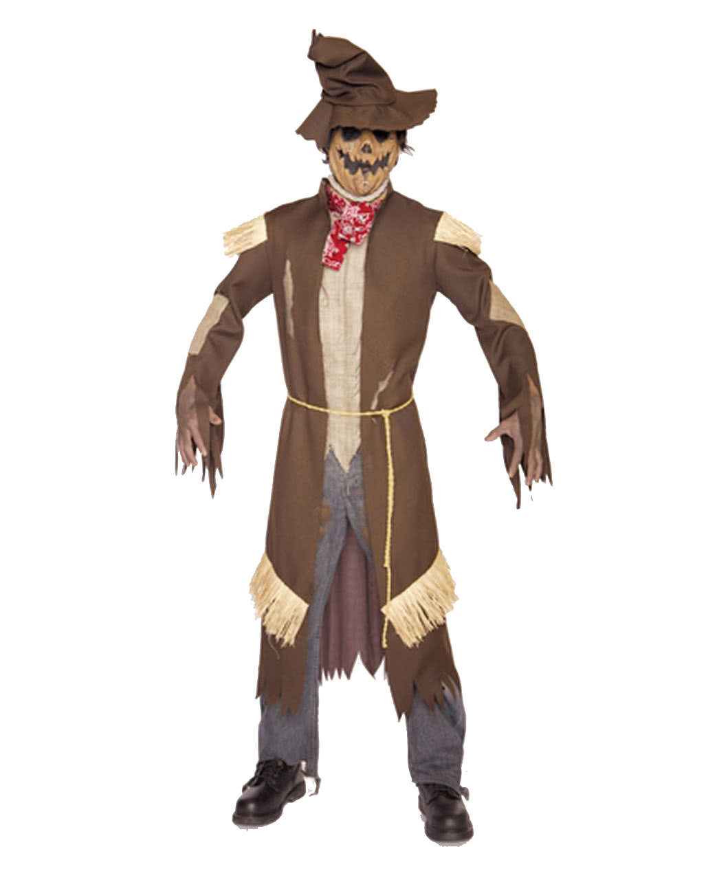 death crow costume scarecrow costume with mask, hat and coat