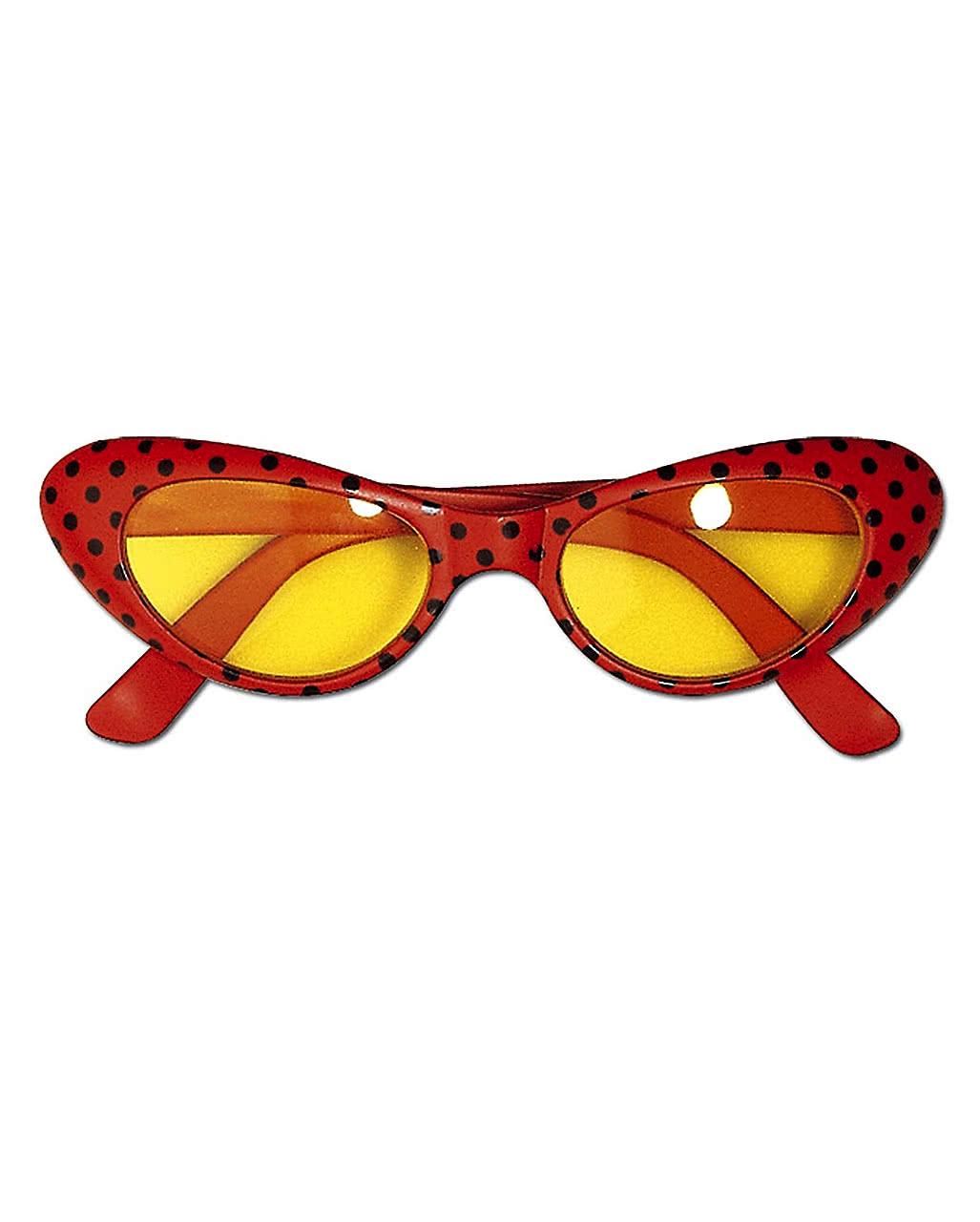 Disco Brille rot mit Punkten für Mottopartys   Horror-Shop.com