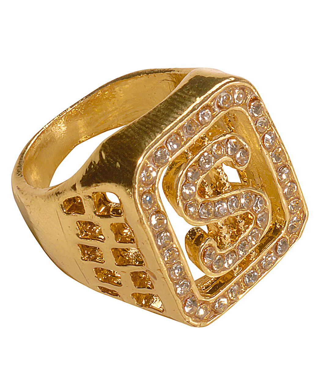 Dollar Ringgold   Rapper Ring with diamante   horror-shop.com