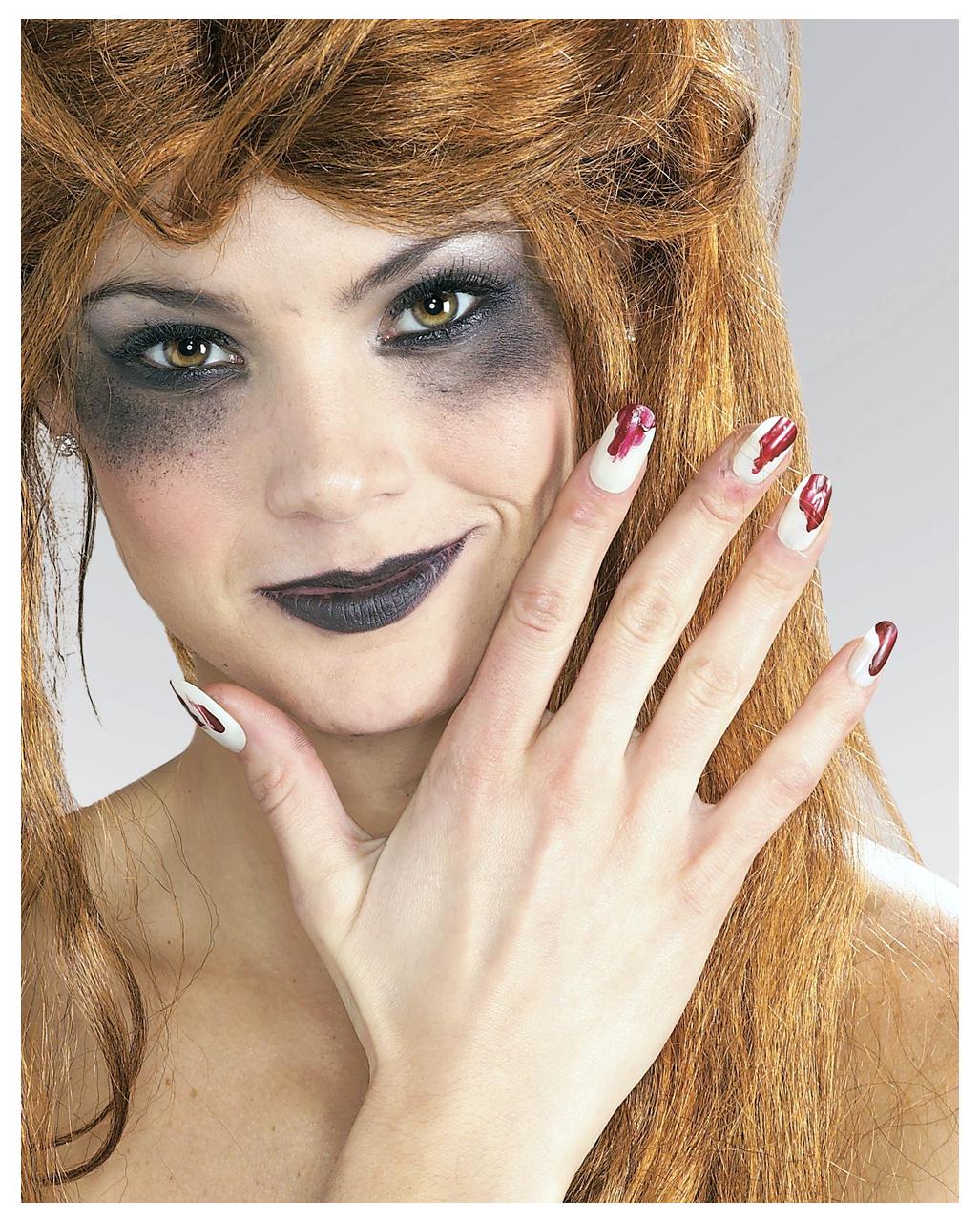 Fingernägel leuchtend und blutig -Künstliche Nägel zum aufkleben ...