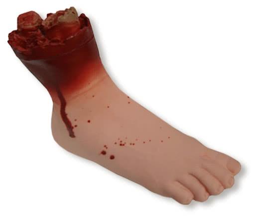 Fuß rechts Vinyl -blutiges Körperteil für Halloween | Horror-Shop.com