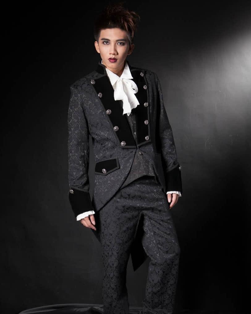 Gothic Men brocade frock coat black | Elegant coat in Victorian ...