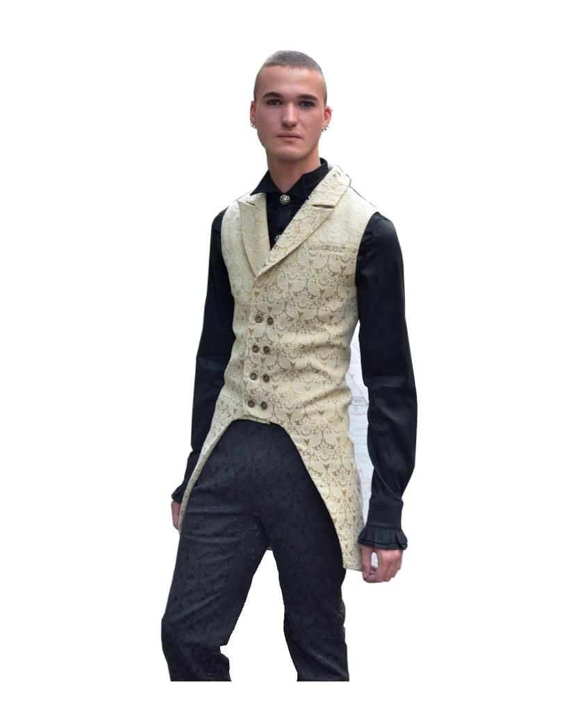Gothic Brocade Men Beige Vest