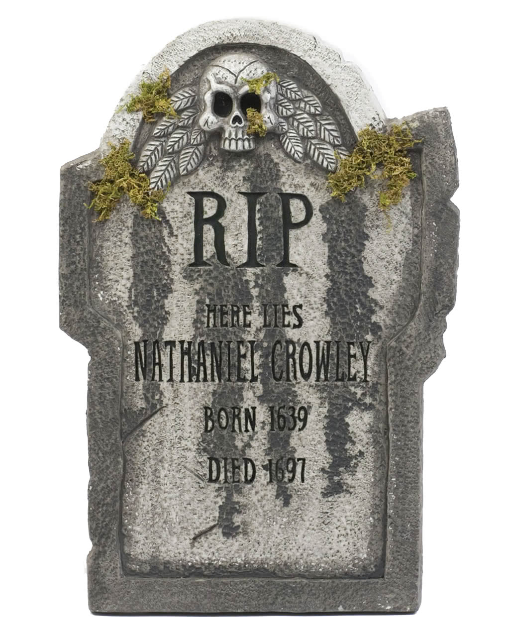 halloween gravestone with skull & moss 55 cm | | horror-shop