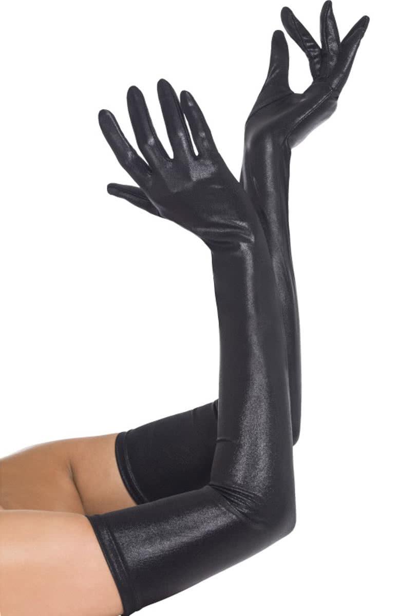 52d34b875dcf77 Handschuhe schwarz Wet Look