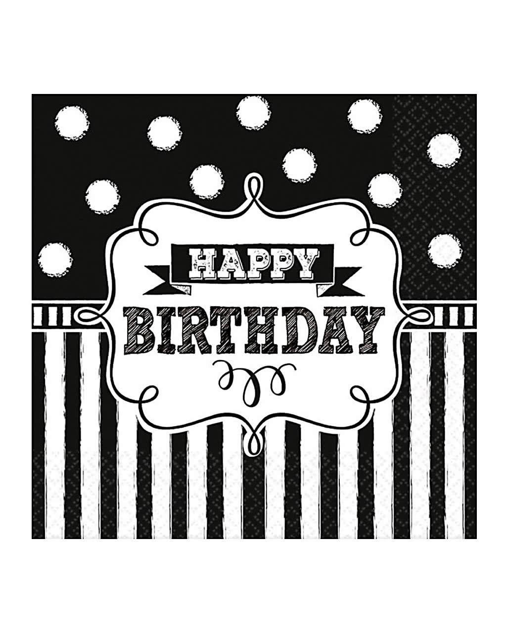 Happy Birthday Servietten Schwarz Weiss 16 St Kaufen Horror Shop Com
