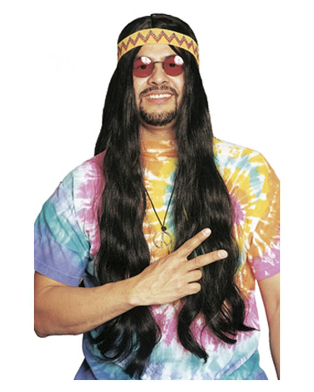 Hippie Perucke Mit Haarband Schwarz Hier Kaufen Horror Shop Com